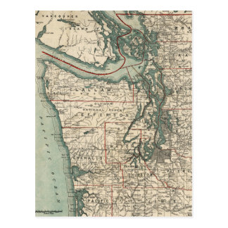 Vintage Map of The Puget Sound (1910) Postcard