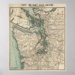 Vintage Map of The Puget Sound (1910) Poster