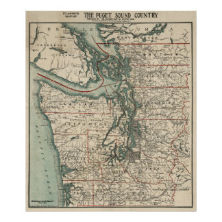 Vintage Map of The Puget Sound (1910) Poster