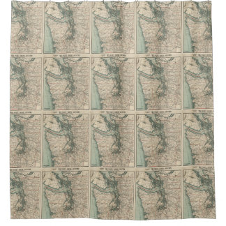Vintage Map of The Puget Sound (1910) Shower Curtain
