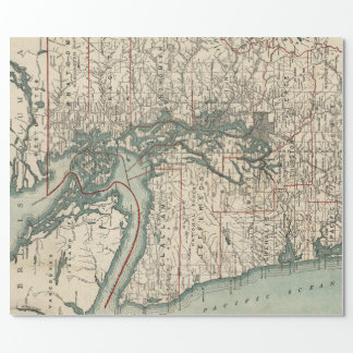 Vintage Map of The Puget Sound (1910) Wrapping Paper