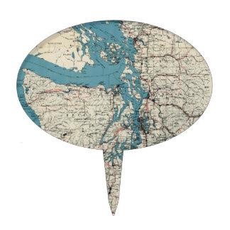 Vintage Map of The Puget Sound (1919) Cake Topper