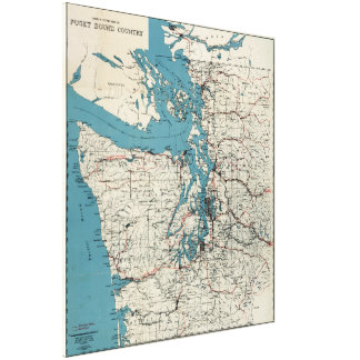 Vintage Map of The Puget Sound (1919) Canvas Print