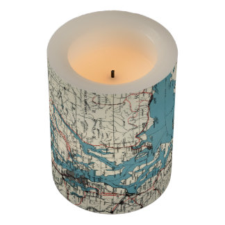 Vintage Map of The Puget Sound (1919) Flameless Candle
