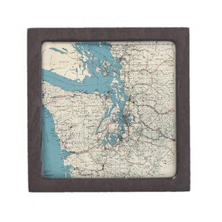 Vintage Map of The Puget Sound (1919) Jewelry Box