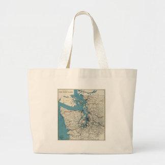 Vintage Map of The Puget Sound (1919) Large Tote Bag