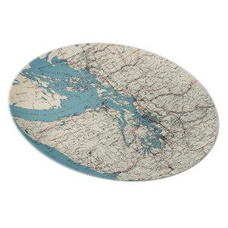 Vintage Map of The Puget Sound (1919) Melamine Plate