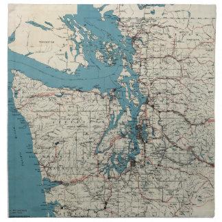 Vintage Map of The Puget Sound (1919) Napkin