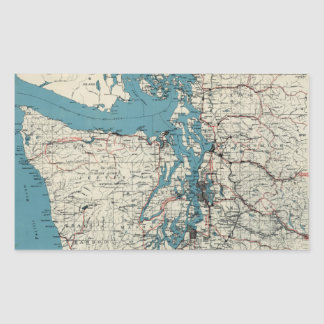 Vintage Map of The Puget Sound (1919) Rectangular Sticker