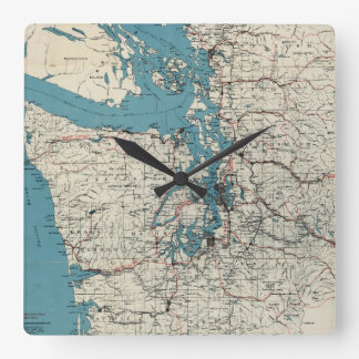 Vintage Map of The Puget Sound (1919) Square Wall Clock