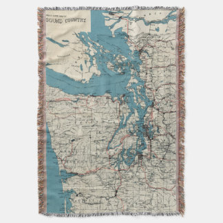 Vintage Map of The Puget Sound (1919) Throw Blanket