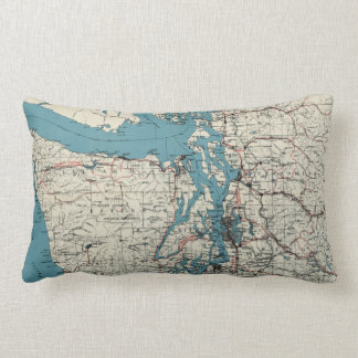 Vintage Map of The Puget Sound (1919) Throw Pillow