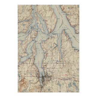 Vintage Map of The Puget Sound (1934) Poster