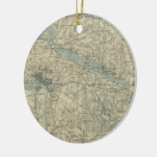 Vintage Map of The Richmond Virginia Area (1864) Ceramic Ornament