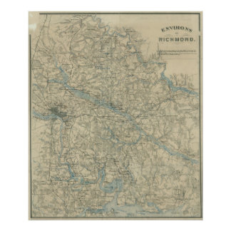 Vintage Map of The Richmond Virginia Area (1864) Poster