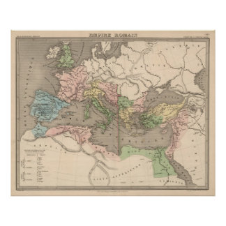 Vintage Map of The Roman Empire (1838) Poster