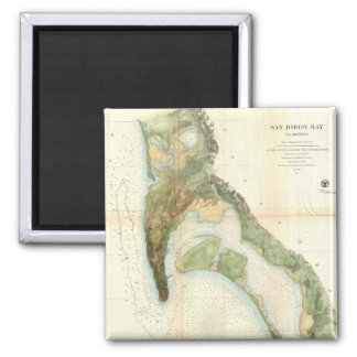 Vintage Map of The San Diego Bay (1857) 2 Inch Square Magnet