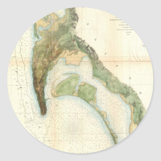 Vintage Map of The San Diego Bay (1857) Classic Round Sticker