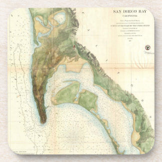 Vintage Map of The San Diego Bay (1857) Coaster