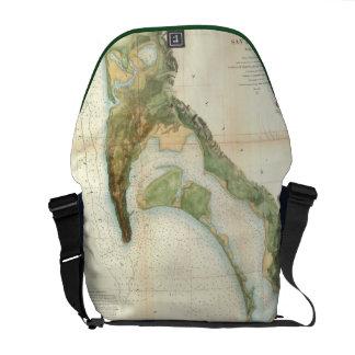 Vintage Map of The San Diego Bay (1857) Messenger Bag
