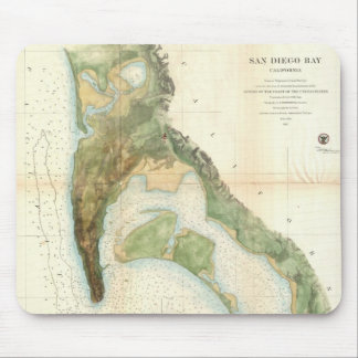 Vintage Map of The San Diego Bay (1857) Mouse Pad