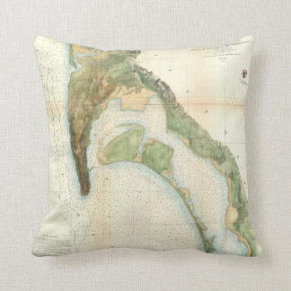 Vintage Map of The San Diego Bay (1857) Throw Pillows