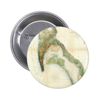 Vintage Map of The San Diego Bay (1857) Pinback Button