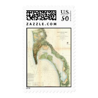 Vintage Map of The San Diego Bay (1857) Postage