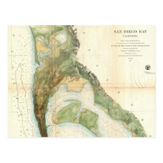 Vintage Map of The San Diego Bay (1857) Postcard