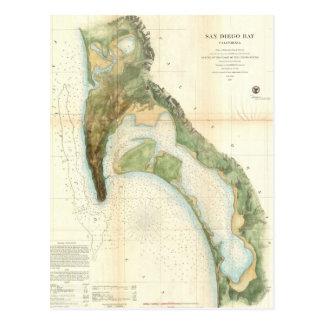 Vintage Map of The San Diego Bay (1857) Postcard