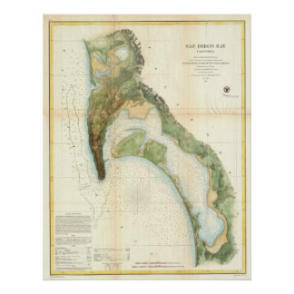 Vintage Map of The San Diego Bay (1857) Poster