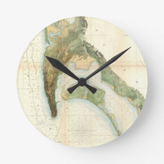 Vintage Map Of The San Diego Bay (1857) Round Wall Clocks