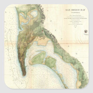 Vintage Map of The San Diego Bay (1857) Square Sticker