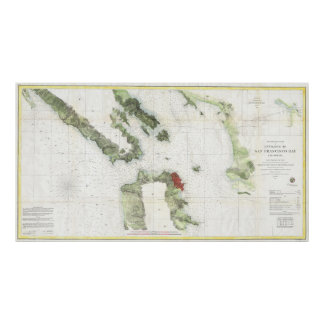 Vintage Map of The San Francisco Bay (1856) Poster