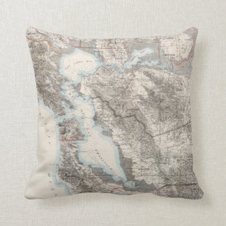 Vintage Map of The San Francisco Bay (1873) Throw Pillow