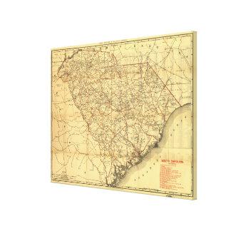 Vintage Map of The South Carolina Railroads (1900) Canvas Print