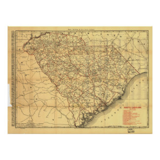 Vintage Map of The South Carolina Railroads (1900) Poster