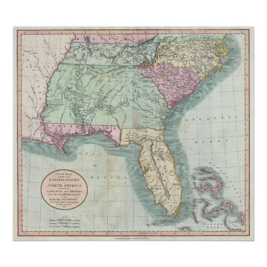 Vintage Map Of The Southeastern U S 1806 Poster