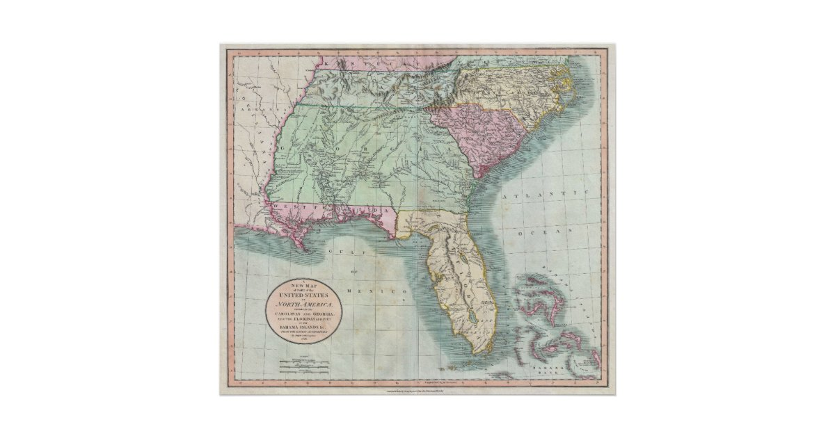Vintage Map Of The Southeastern US Poster Zazzle - Map of us 1806