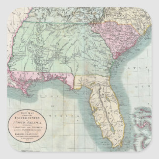 Vintage Map of The Southeastern U.S. (1806) Square Sticker
