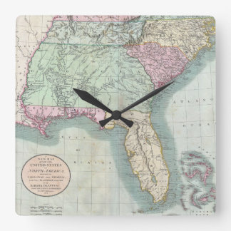 Vintage Map Of The Southeastern U S 1806 Square Wall Clock