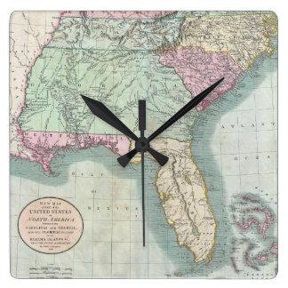 Map Of Florida Wall Clocks Zazzle - Map of us 1806