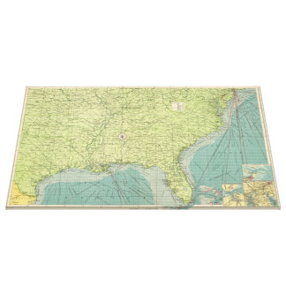 Vintage Map of The Southeastern U.S. Ports (1922) Canvas Print