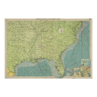 Vintage Map of The Southeastern U.S. Ports (1922) Poster