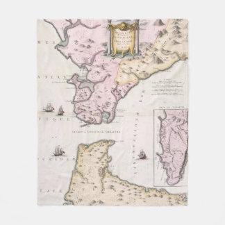 Vintage Map of The Strait of Gibraltar (1780) Fleece Blanket