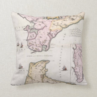 Vintage Map of The Strait of Gibraltar (1780) Throw Pillow