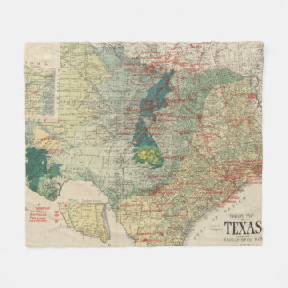 Vintage Map of The Texas Oil and Gas Fields (1920) Fleece Blanket