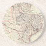 Vintage Map of The Texas Railroad System (1885) Beverage Coasters