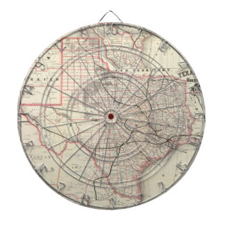 Vintage Map of The Texas Railroad System (1885) Dartboard With Darts