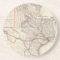 Vintage Map of The Texas Railroad System (1885) Drink Coaster